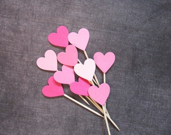 24 Mixed Pink Heart Cupcake Toppers, Food Picks, Party Decor, Sweet 16, Weddings, Showers, Birthdays, Love, Valentine's Day Decor
