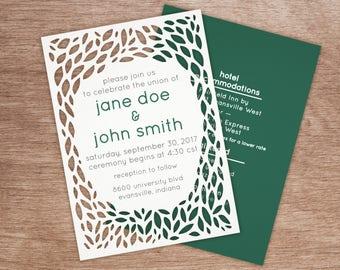 die cut greenery wedding invitation bundle — invitation / info card — printable