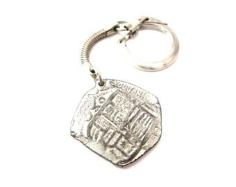 Replica Silver Tone Metal Lucaya Souvenir Bahamas Reversible Old Coin Vintage Keychain / Keepsake