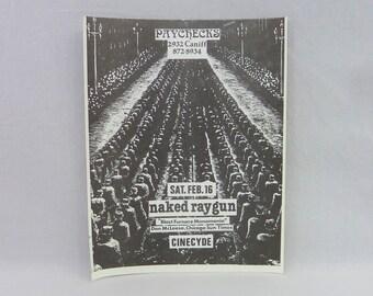 Naked Raygun, Cinecyde original flyer - Vintage 1980s Punk Flyer - Paychecks Detroit 1985 - band gig concert flyer