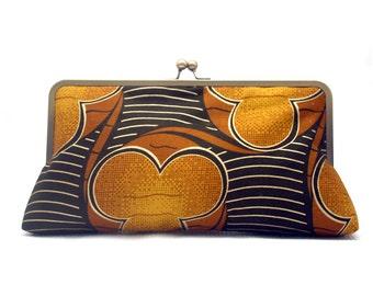Evening Clutch bag, Statement Clutch, Gold Clutch, Golden Cloves Ankara Megasnap Clutch, African Print Bag, Oversized Clutch Purse