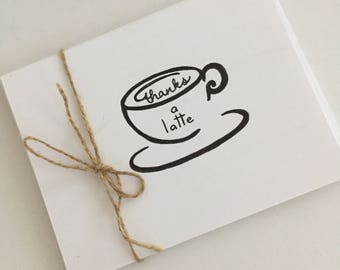 Thank you Card - Thanks a Latte!  Hand Drawn Coffee Cup Design. Coffee lover. Popular design .  Blank inside. Sold Singly or in 5pc Sets