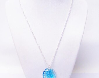 Blue Flower Lampwork Glass Pendant Necklace