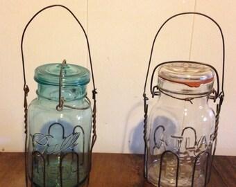 Ball mason jar with wire holder