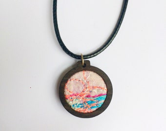 Embroidered necklace ~ embroidery hoop necklace ~ coral necklace ~ handmade jewellery ~ one off jewellery ~ gifts for mum ~ gift ideas