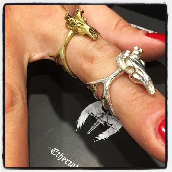 Etherial Jewelry - Rock Chic Talisman Luxury Biker Custom Handmade Artisan Pure Sterling Silver .925 Deer Skull & Antlers Designer Ring