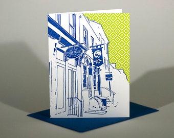Baltimore Letterpress Card   Thames Street   blue & green single blank card with envelope
