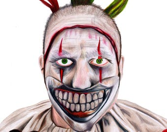 Twisty the clown american horror story pencil crayon portrait print
