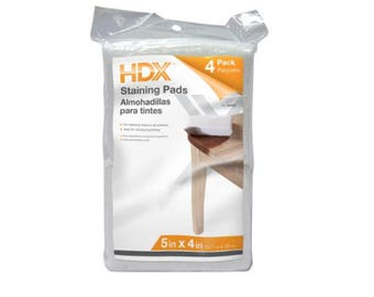 """Four stain pads by HDX made of terry cloth. Each pad is 5x4x1"""". Great for staining wood!"""