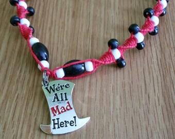 Hemp Necklace / Red Hemp Necklace / Alice in Wonderland Necklace / Alice in Wonderland Jewelry / Black and White Hemp Necklace / Mad Hatter