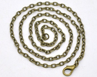 1pc 18 inch Bronze chain antique necklace Cable Chain locket chain 4x2.5mm pendant jewelry findings 945x