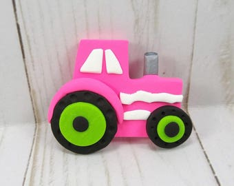 Polymer Clay Pink Tractor Hair Bow Center - Farm Tractor Hair Bow Center - Farm Hair Bow Center - Hair Bow Supplies -269