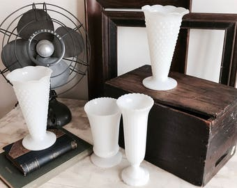 Pair of fluted Milk Glass Vases