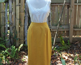 80s Mustard Yellow Pencil Skirt | Faux Linen | Fitted | Suit | Midi | - M