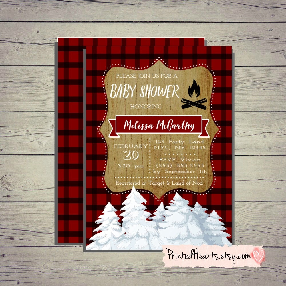Wilderness Baby Shower Invitation. Wood and Plaid Invite.