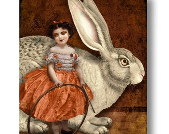 Weiße Kaninchen Zirkus Druck digitale Kunst Orange surreale Wohnkultur Bunny Hase Haustier Halloween Goth