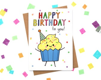 Happy Cupcake Birthday Card, Happy Birthday to You, Greeting Card, Kawaii Cake Paper Goods