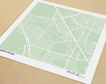 Henderson Map, Hand-Drawn Map Print of Henderson Nevada