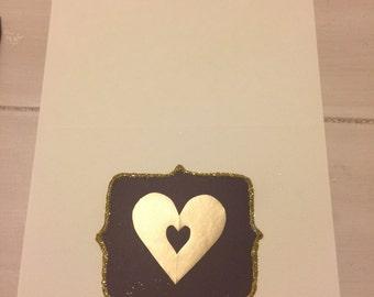 Handmade Plum with Gold Open Heart Notecards