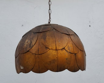 60's  Italian  Hollywood Regency  Lotus  Pendant Lamp .