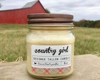 Candle - Country Girl Beeswax Tallow Candle (8 oz Mason Jar Candle, Natural Candle, Beeswax Candle, Tallow Candle)