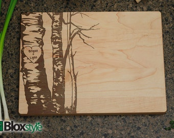 Personalized Cutting Board- Cutting Board, Personalized Gift, Personalized Wedding Gift, Wedding Gift, Bridal Shower Gift, Birch Trees