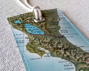 Costa Rica luggage tag made with original vintage map