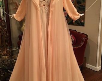 Vintage Lucie Ann Peach Chiffon Nightgown Robe Peignoir Set Small Medium Large