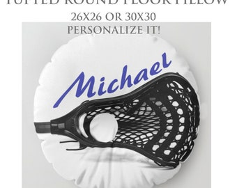 Floor Pillow-Custom Pillow-Lacrosse Floor Pillow-Sports Decor-Round Floor Pillow-Lacrosse Decor-Floor Cushion-Seating-Boys Room Decor-LaX