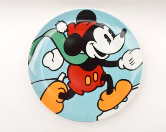 Vintage Skating Mickey Mouse Plate Disney Classic Brenda White Clay Artist Collectible Walt Decorative Plaque Charger Ceramic Memorabilia