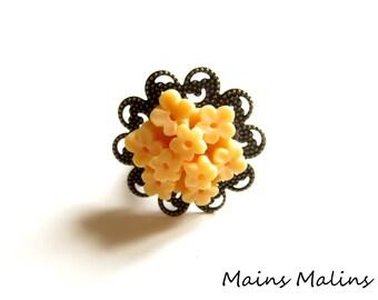 Ring filigree bronze Tangerine flower