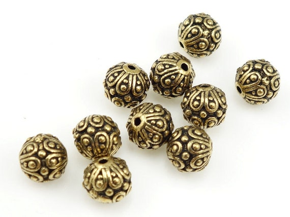 Gold Beads TierraCast CASBAH Antique Gold Bali Beads Gold Bali Style
