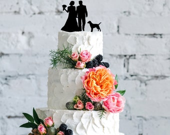Wedding Couple Silhouette with Dog Acrylic Cake Topper - 24 Dog Breeds to Choose From