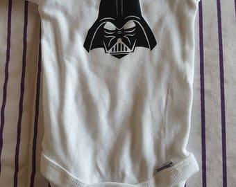Darth vader white baby onesie 0-3 month