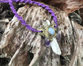 DIANTHE Amethyst Fay Necklace, Blue LACE AGATE, Danburite Pendant, Raw Crystal Jewelry, Quartz Wand