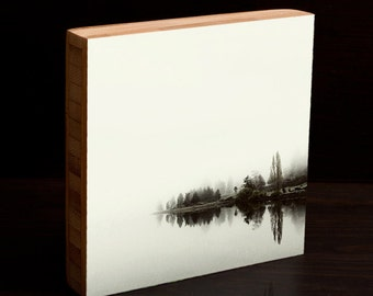 Foggy Dyes Inlet, black and white, fog, morning, reflection, water, wall art, photography, bamboo block, 4x4,