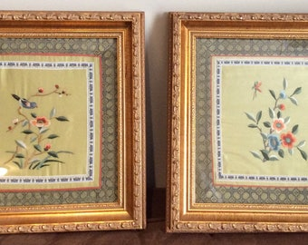 Vintage Silk Embroidered Framed Wall Hangings Set of 2