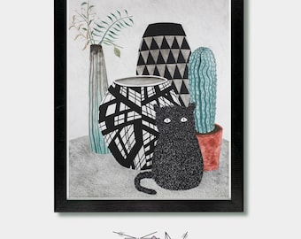 Cat Decor - Furry Form - Vase, Art Print, Cat Lover, Cat Gift, Mid Century Modern, House Plant, Cactus, Cactus Decor, Cactus Prints, Furry