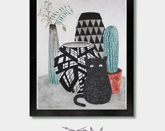 Cat Decor - Furry Form - Vase, Art Print, Cat Lover, Cat Gift, Mid Century Modern, House Plant, Cactus, Cactus Decor, Cactus Prints, Furry