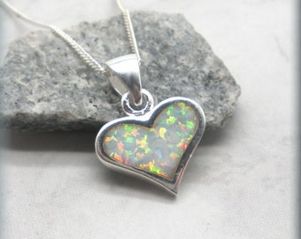 White Opal Heart Necklace, Sterling Silver, Heart Pendant, October Birthstone Jewelry, Birthday Gift, Everyday, Gift for Her