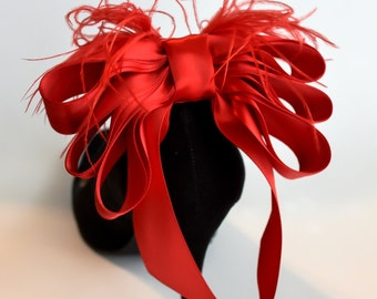 Red Satin Ribbon Bow And Feather Shoe Clips Set of Two More Colors Available