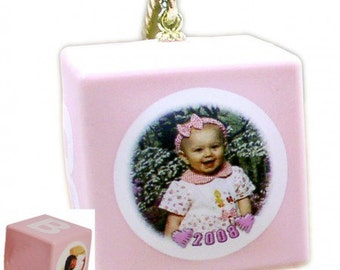 Baby Block Photo Ornaments - PINK