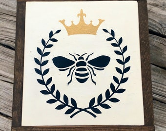 Queen Bee Wood Wall Art Gallery Wall Art Handpainted Wood Sign Wooden Bee Sign Summer Decor Family Room Decor Office Decor Birthday Gift