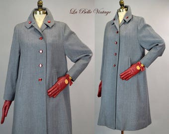 Red Fleck Tweed Coat Vintage 40s Tailored Swing Coat ~ Matching Red Leather Gloves