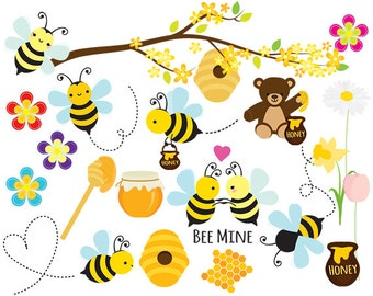 Bees clipart - honey bees clip art, spring bumblebees whimsical flowers springtime, honey clipart for personal and commercial use