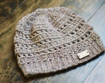 Toddler Crochet Beanie 1T/2T | Natural-Tone Kid's Winter Hat Wool Blend | Cozy Children's Knit Hat