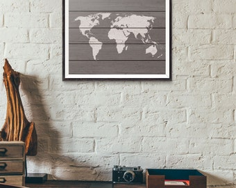 Wood World Map - Rustic Wood - World Map Wood - Rustic Wood World Map - World Map Art Print - Rustic Decor - Travel Art - Office Decor