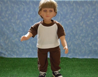 "23"" Boy Doll Clothes - Fits My Twinn - Brown and White Sweats Outfit - Handmade"