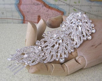 Giant Hair Comb - Rhinestones with Silver Tone Setting - Bride or Bridesmaid Accessory - French Chignon - Free Shipping
