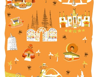 Los Angeles Tea Towel-Home Goods-Kitchen-Orange-Gold-Grey-17x28-Home Decor-California-Hollywood-Kitchen